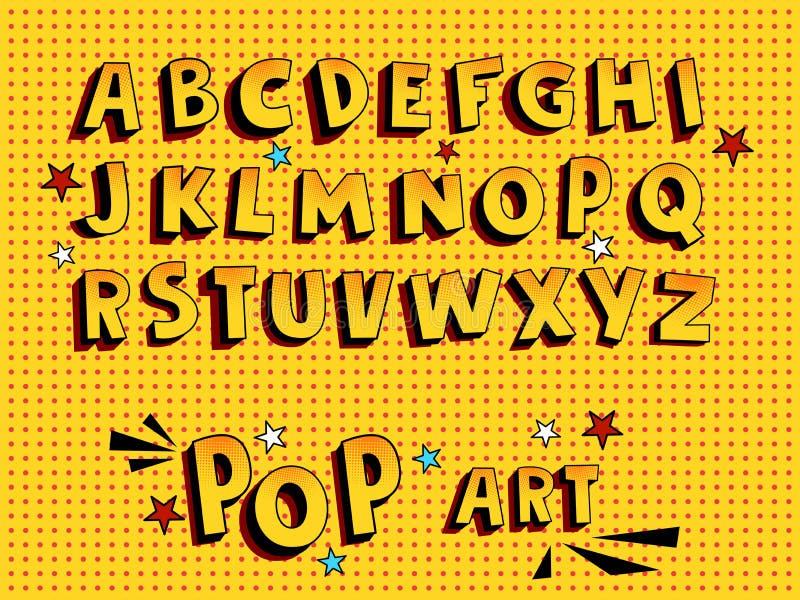 Creatieve grappige doopvont Alfabet in stijl van strippagina, pop-art Multilayer grappige gele 3d letters en cijfers, voor jonge  stock illustratie