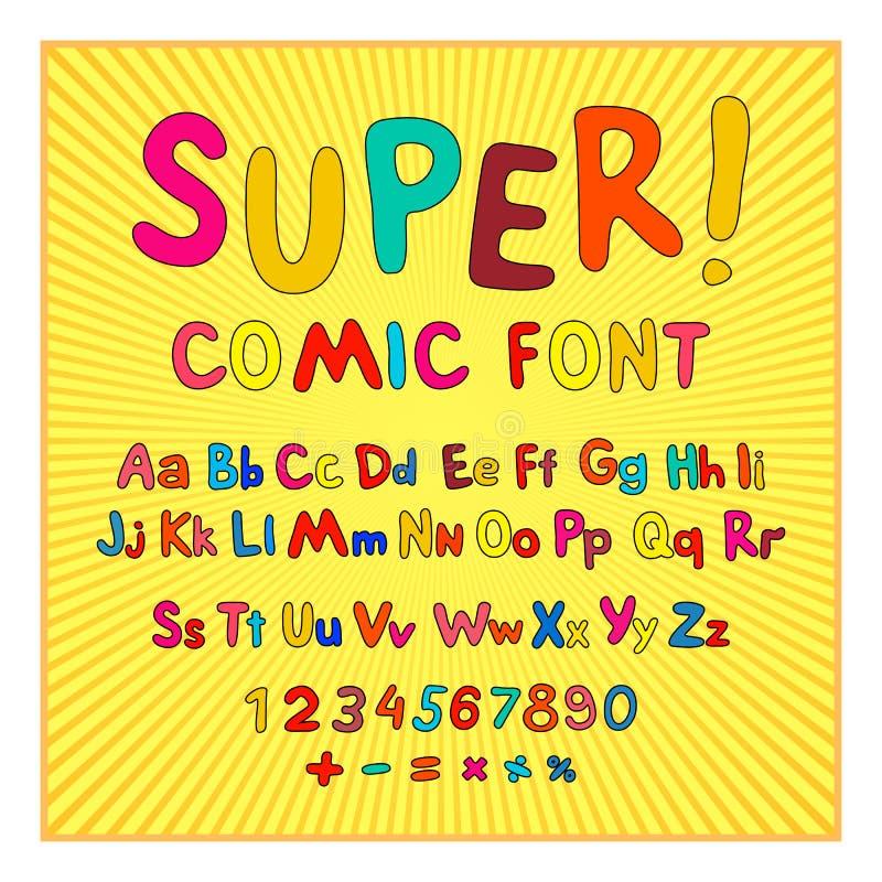 Creatieve grappige doopvont Alfabet in stijl van strippagina, pop-art Multilayer grappig rood & chocolade 3d letters en cijfers a stock illustratie