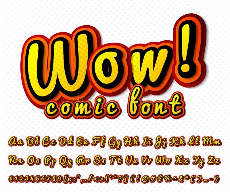 Creatieve grappige doopvont Vectoralfabet in stijlpop-art stock illustratie