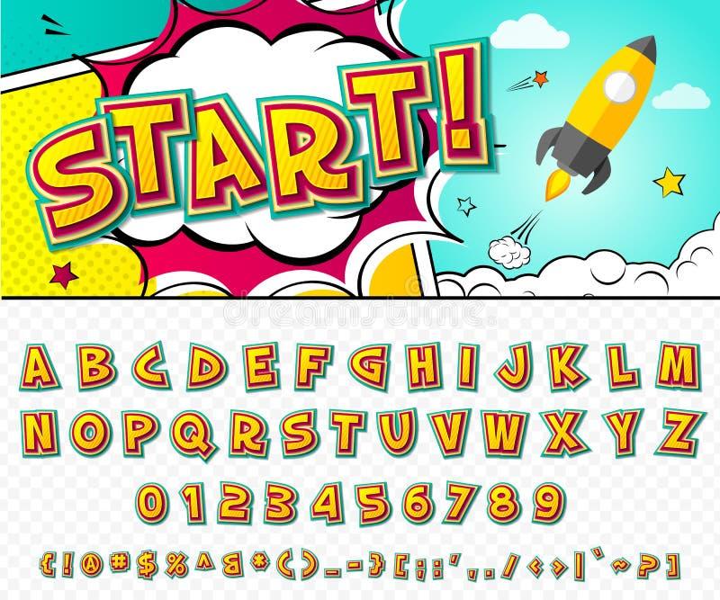 Creatieve grappige doopvont Vectoralfabet in stijlpop-art vector illustratie