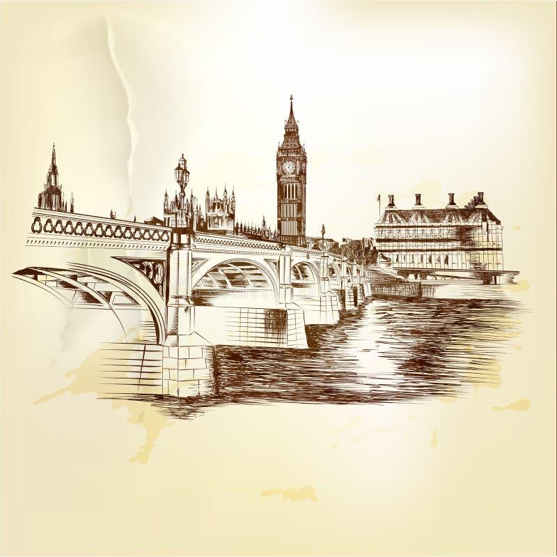 Antieke vectorprentbriefkaar met de hand getrokken brug van Londen in sepia royalty-vrije illustratie