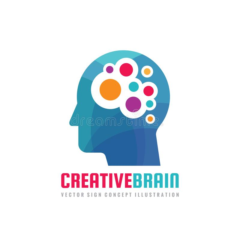 Creatieve hersenen - het malplaatje vectorillustratie van het conceptenembleem Menselijk hoofdkarakterteken Het abstracte symbool royalty-vrije illustratie