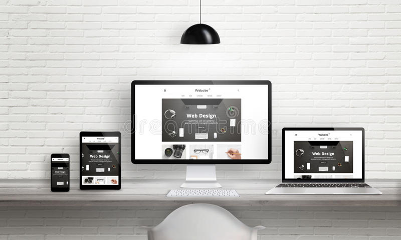 Creatieve het agentschappresentatie van het Webontwerp op veelvoudige apparaten vector illustratie