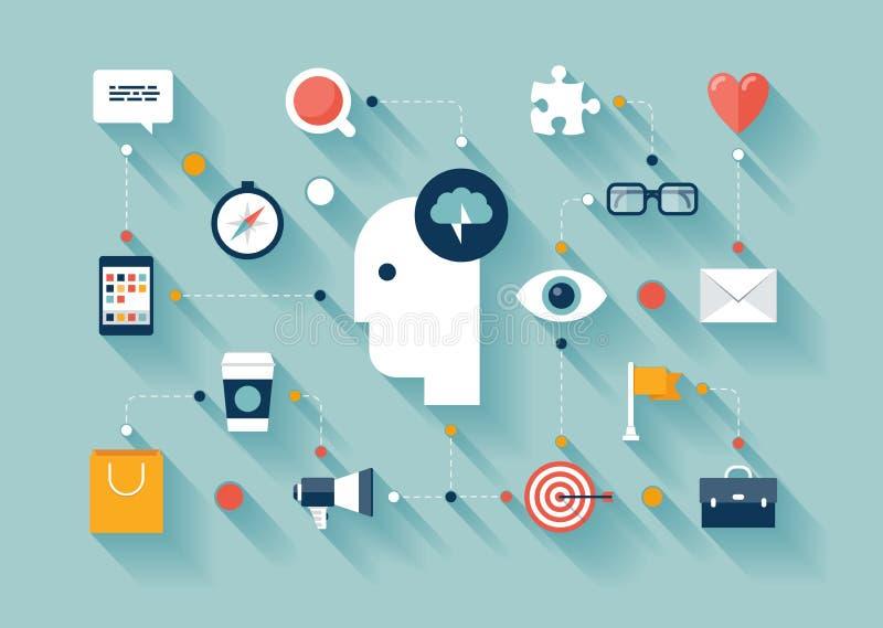 Creatieve het denken en brainstormingsideeën vector illustratie