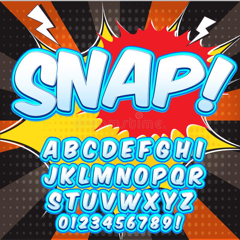 Creatieve hoge detail grappige doopvont Alfabet in de stijl van strippagina, pop-art stock illustratie