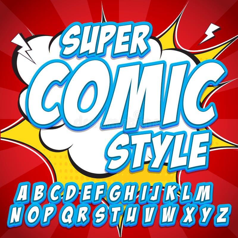 Creatieve hoge detail grappige doopvont Alfabet in stijl van strippagina, pop-art Letters en cijfers voor decoratie van jonge gei stock illustratie