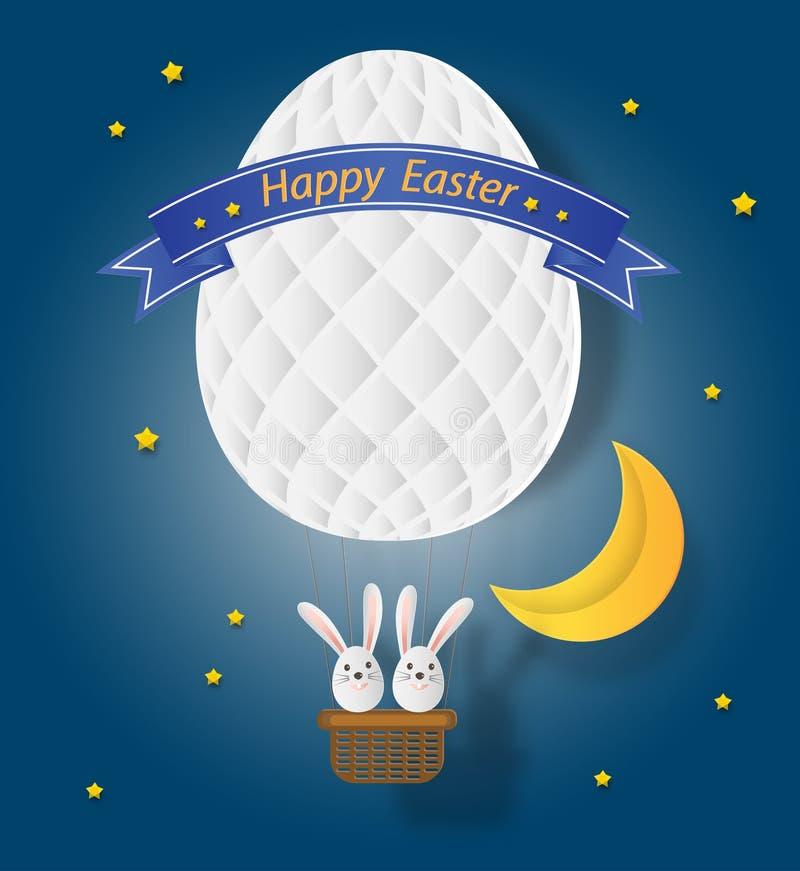 Creatieve ideeën van gelukkige Pasen-dag met konijn en ballonei s stock illustratie