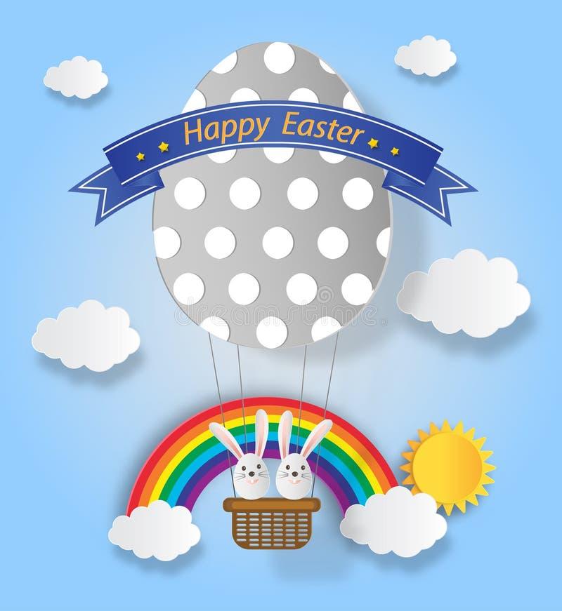 Creatieve ideeën van gelukkige Pasen-dag met konijn en ballonei s vector illustratie
