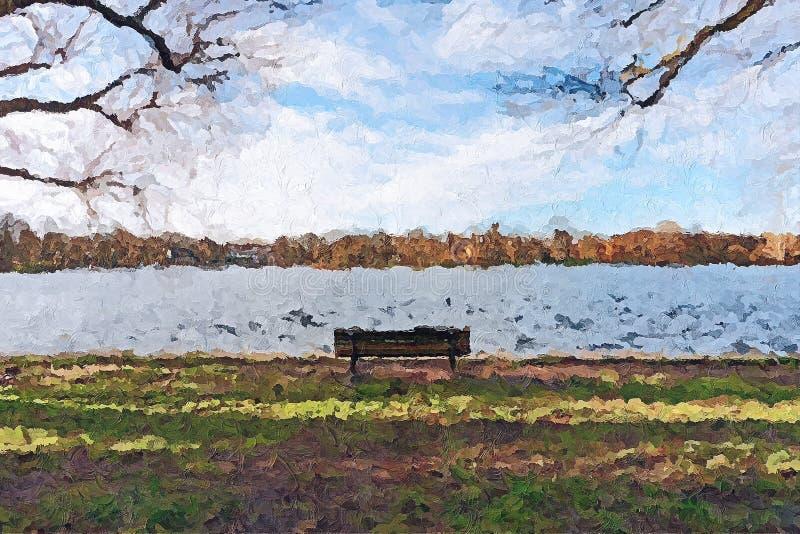 Creatieve Illustratie - Eenzame Parkbank voor een Rivier - Olieverfschilderij stock illustratie