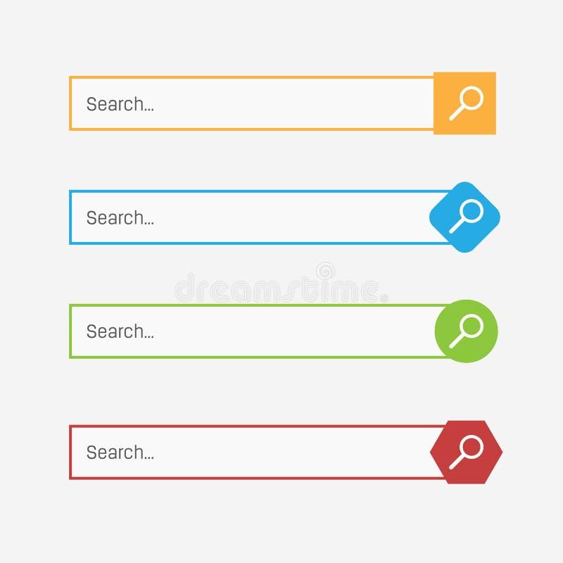 Creatieve illustratie van de dozenknopen van de onderzoeksbar UI en UX-interfacemalplaatje op achtergrond Het ontwerp van de webs vector illustratie