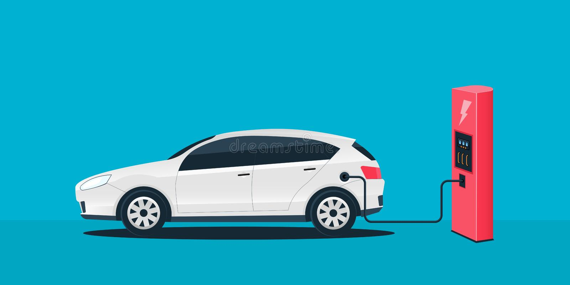 Creatieve illustratie van elektrische het laden toekomstige auto, laderspost die op achtergrond wordt ge?soleerd Electromobilitye royalty-vrije illustratie