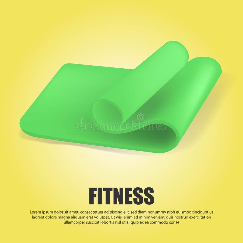 Creatieve illustratie van half groene gerolde yogamat die op transparante achtergrond wordt geïsoleerd De geschiktheid en de gezo stock fotografie