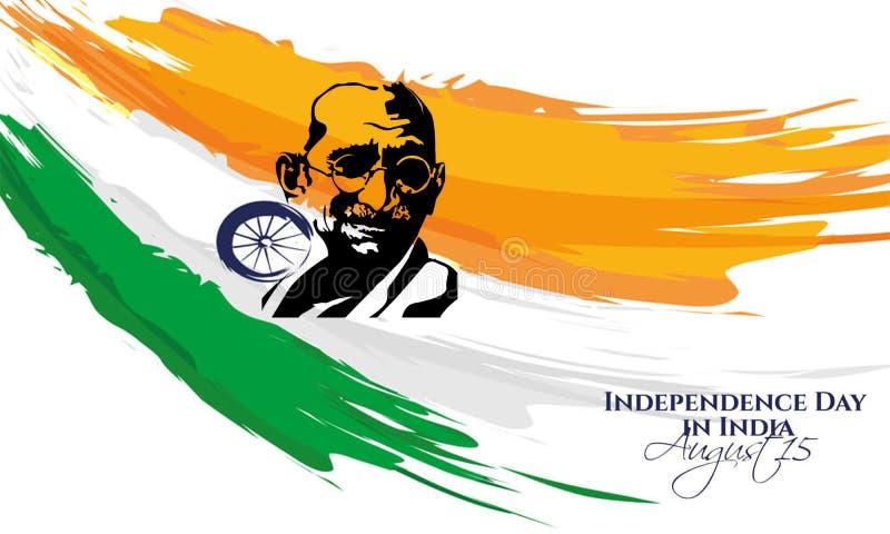 Creatieve illustratie van het Gezicht van Mahatma Gandhi en Ashoka-Wiel op Saffraan en Groene abstracte achtergrond stock illustratie