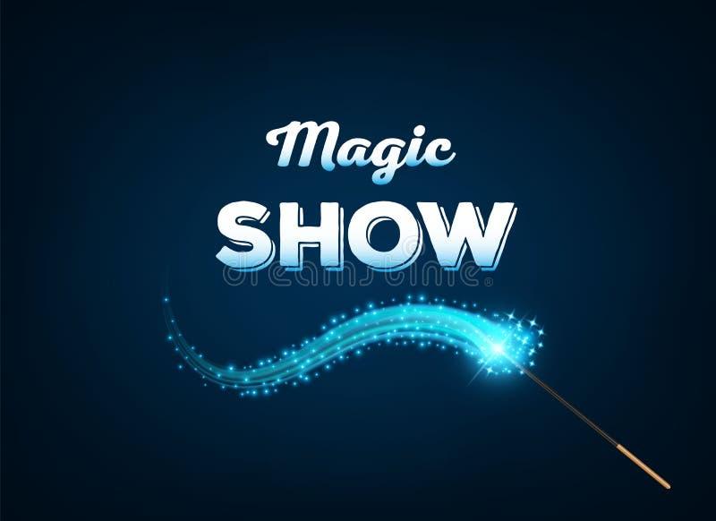 Creatieve illustratie van mirakel magische die stok met fonkeling op achtergrond wordt geïsoleerd Van het de tovenaarstoverstokje vector illustratie