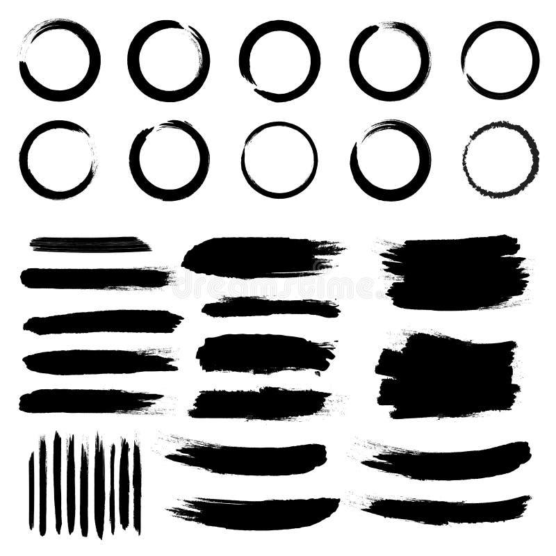 Creatieve illustratie van slagen van de grunge de zwarte ruwe die borstel op achtergrond worden ge?soleerd De vlekken van het kun royalty-vrije illustratie