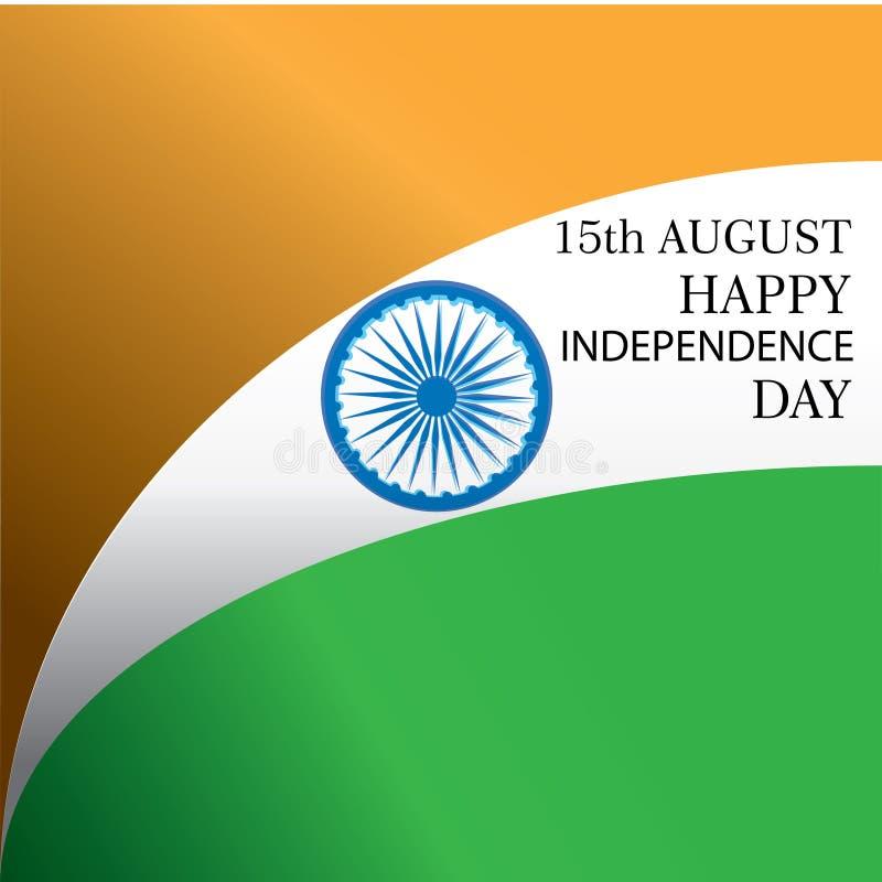 Creatieve Indische Nationale Vlagachtergrond, Elegante Affiche, Banner of ontwerp voor 15 Augustus, de Gelukkige viering van de O stock illustratie