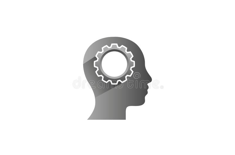 Creatieve Ingenieur Worker Gear hoofdbrain logo design illustration vector illustratie