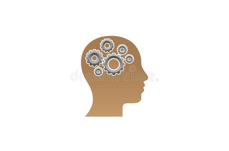 Creatieve Ingenieur Worker Gear hoofdbrain logo design illustration stock illustratie