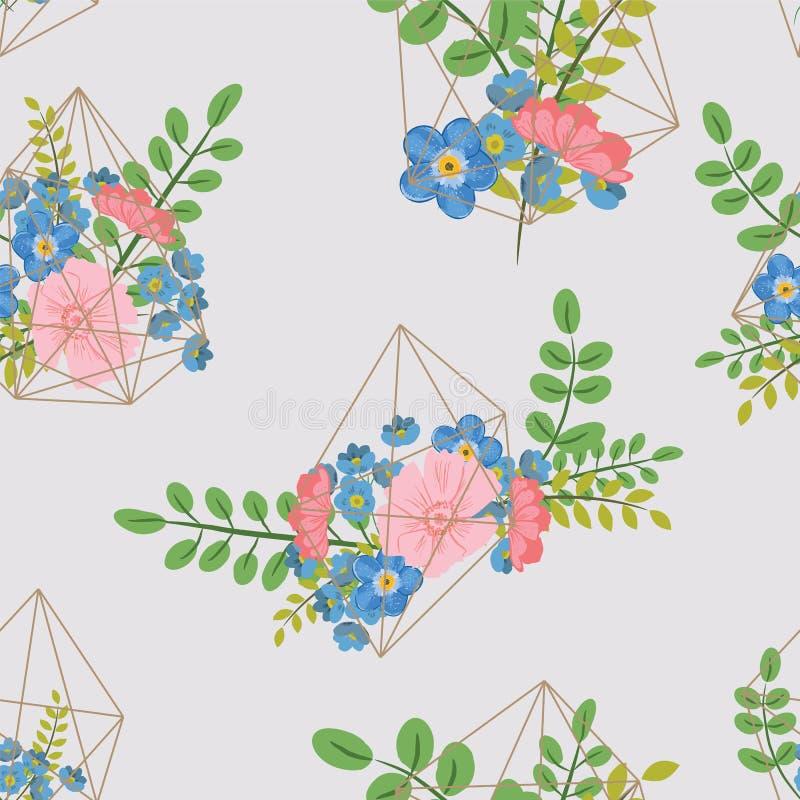 Creatieve kaart met geometrisch contourkristal en een boeket van bloemen royalty-vrije illustratie