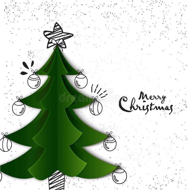 Creatieve Kerstmisboom voor Vrolijke Kerstmisviering royalty-vrije illustratie