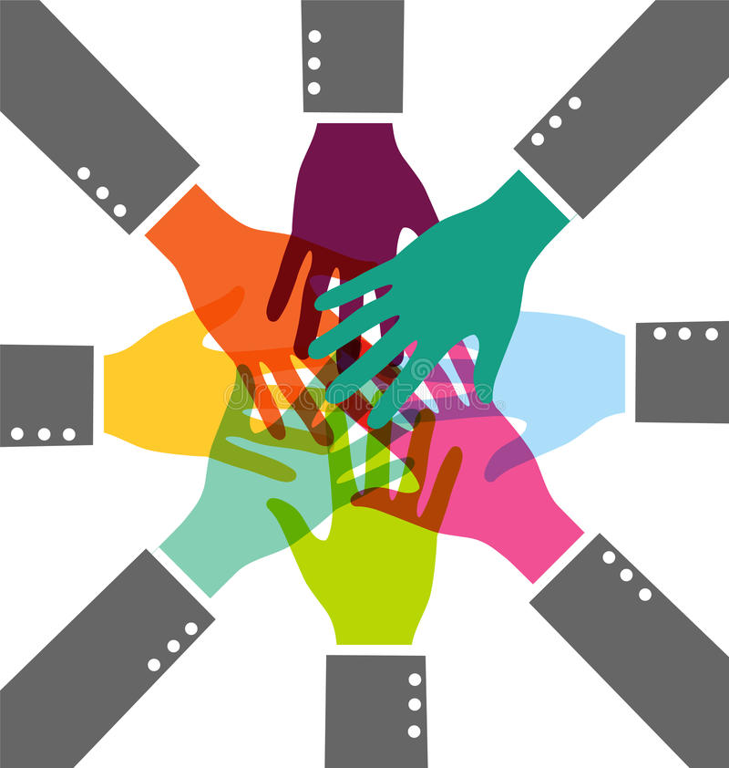 Creatieve Kleurrijke Groepswerk Bedrijfshand royalty-vrije illustratie