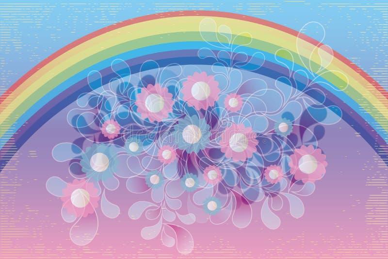 Creatieve kunstinspiratie - illustratie met regenboog, bloemen en wervelingen royalty-vrije illustratie