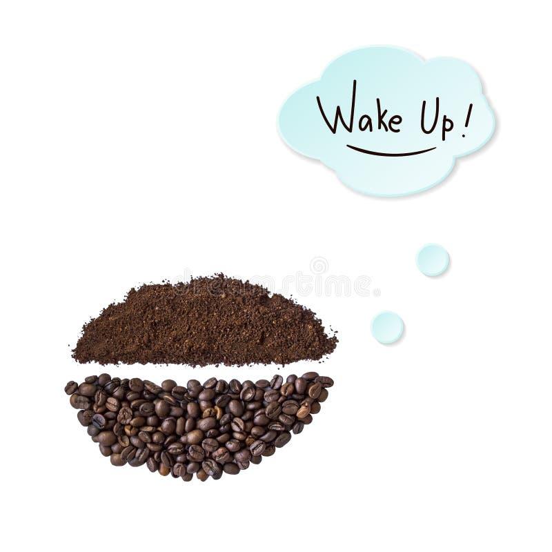 Creatieve lay-out die van koffiebonen en koffiepoeder wordt gemaakt stock illustratie