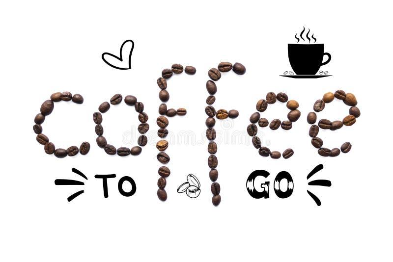 Creatieve lay-out die van koffiebonen wordt gemaakt met het van letters voorzien en krabbel vector illustratie