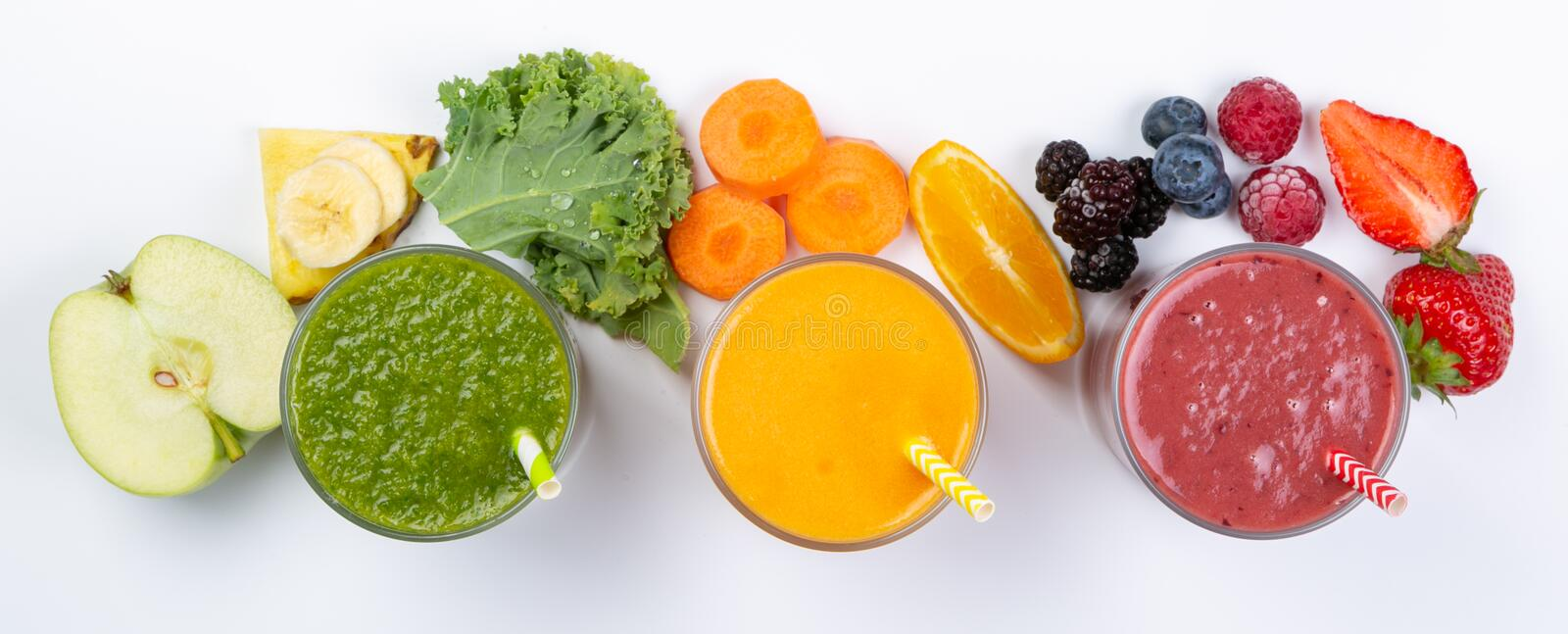Creatieve lay-out van verse smoothies stock foto's