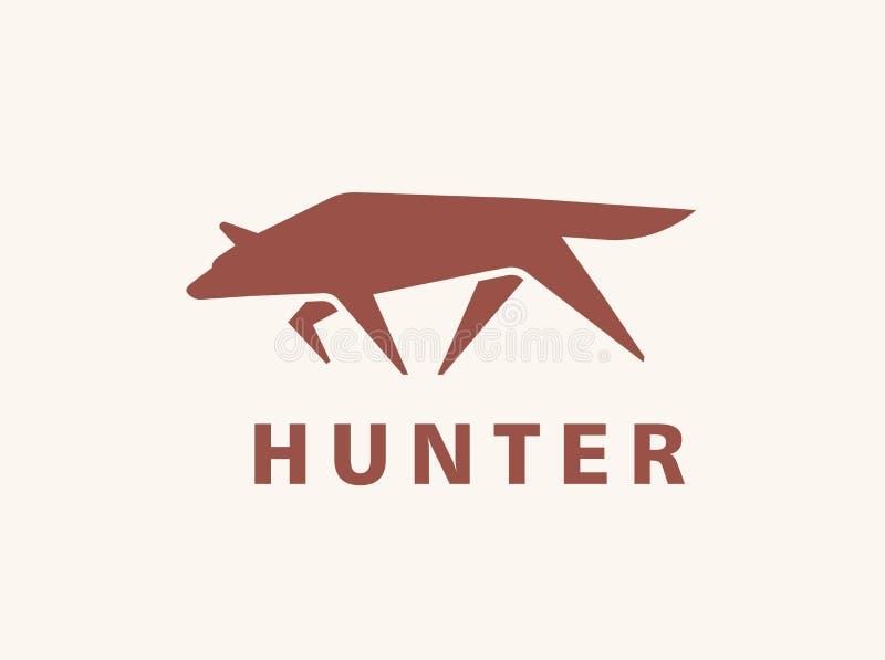 Creatieve logotype met silhouet van wolf Embleem met bos vleesetend dier of roofdier Modern decoratief ontwerp royalty-vrije illustratie