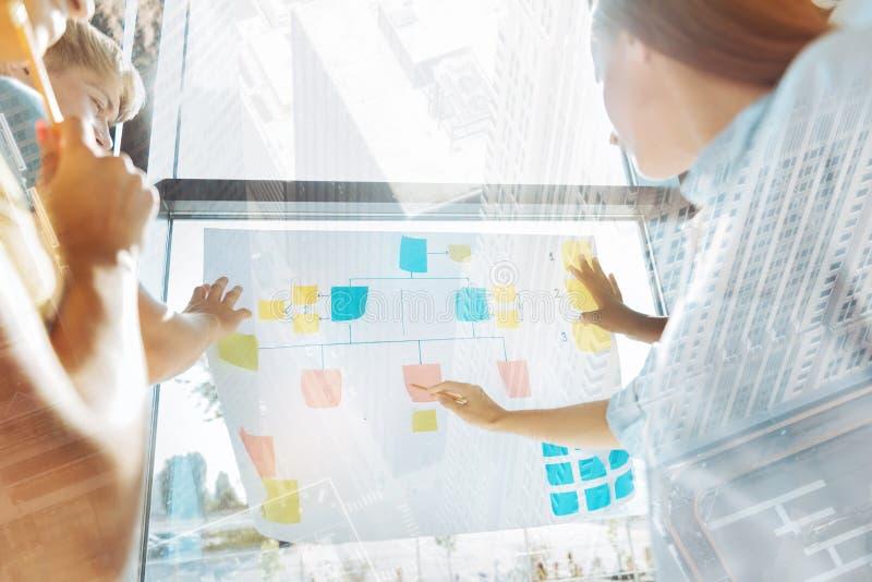 Creatieve medewerkers die businessplan bespreken stock foto's