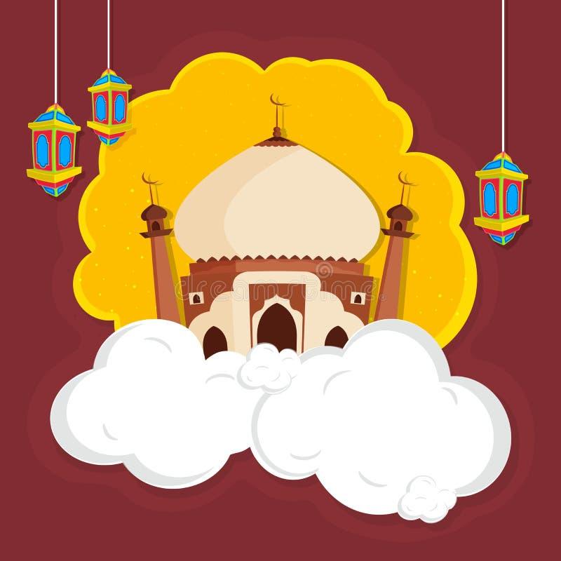 Creatieve Moskee voor Islamitisch Festivallenconcept stock illustratie