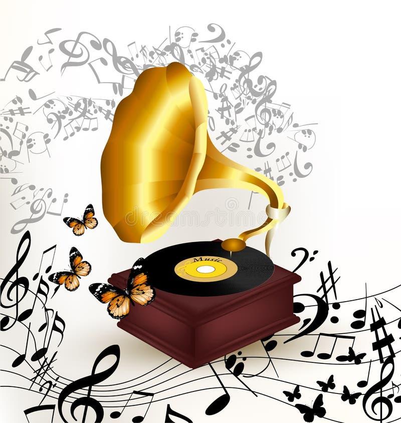 Creatieve muziekachtergrond met oude grammofoon, vlinders en n stock illustratie