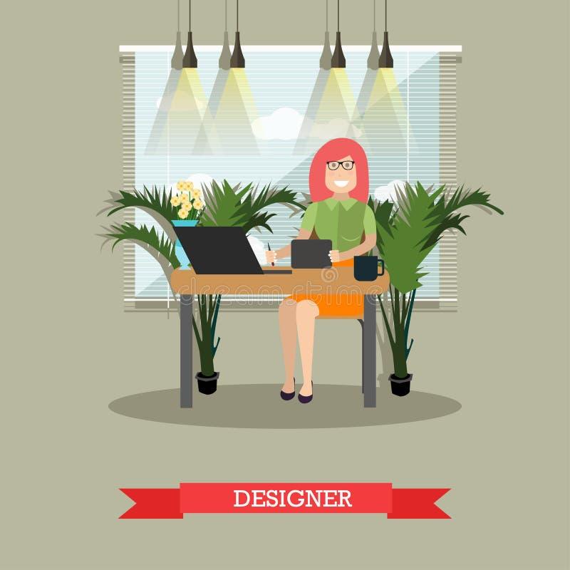 Creatieve ontwerper vectorillustratie in vlakke stijl vector illustratie