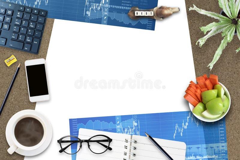 Creatieve ontwerplay-out van hoogste de meningsachtergrond van het bureauplan stock foto