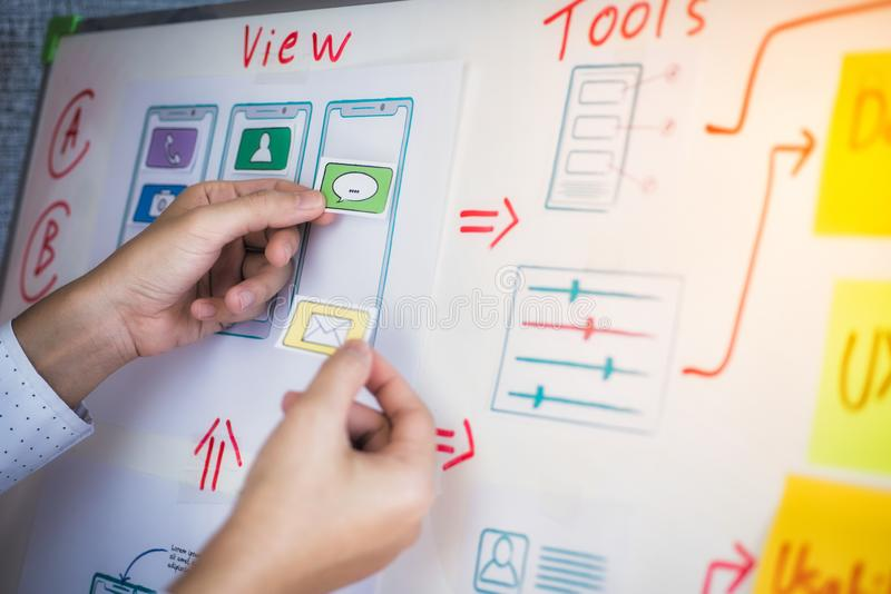 Creatieve ontwikkeling van de programmering van websites voor mobiele toepassingen Het ontwerpconcept van de gebruikerservaring royalty-vrije stock afbeelding
