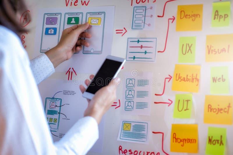 Creatieve ontwikkeling van de programmering van websites voor mobiele toepassingen Het ontwerpconcept van de gebruikerservaring royalty-vrije stock afbeeldingen