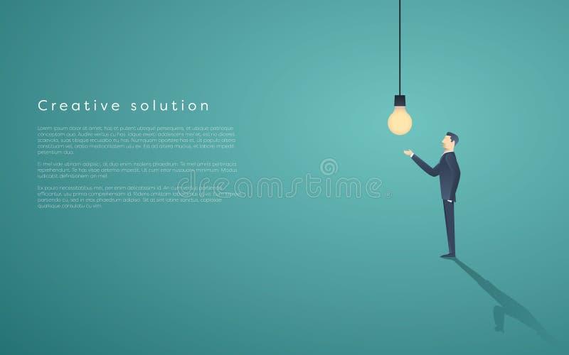 Creatieve oplossingspresentatie met lightbulblamp en een bedrijfsmens De vectorachtergrond van het creativiteitconcept, ruimte vo stock illustratie