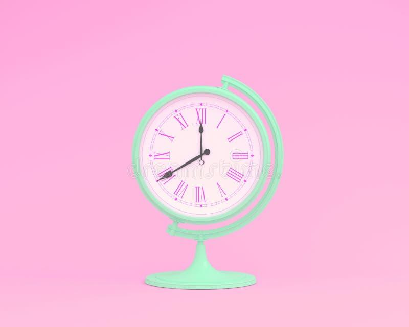 Creatieve orb van het de bolgebied van de ideelay-out klok op roze pastelkleur backg royalty-vrije illustratie