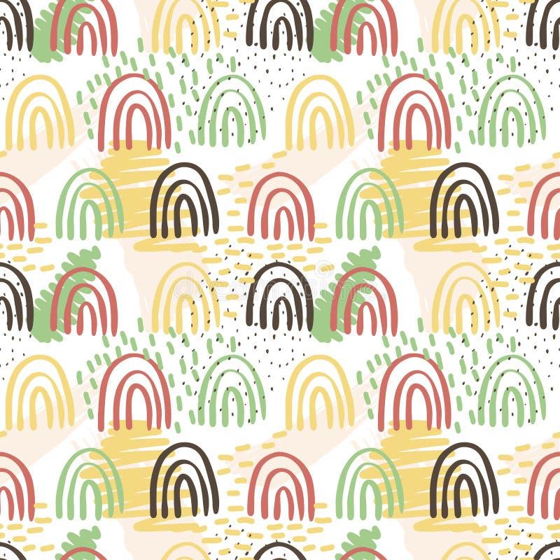 Creatieve patroon naadloze achtergrond met bloemenelementen en verschillende texturen collage Ontwerp voor affiche, kaart, uitnod stock illustratie