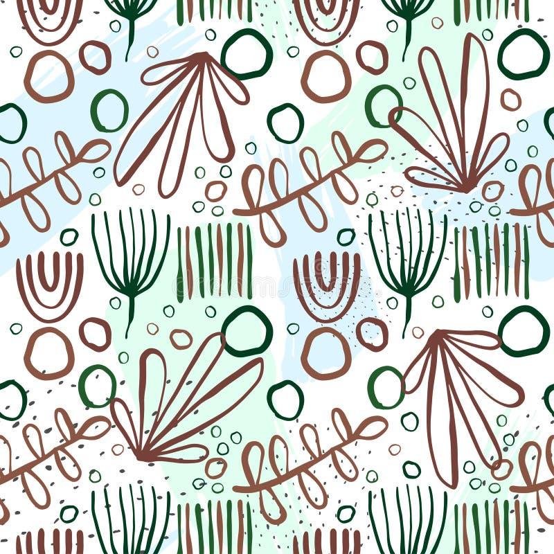 Creatieve patroon naadloze achtergrond met bloemenelementen en verschillende texturen collage Ontwerp voor affiche, kaart, uitnod royalty-vrije illustratie