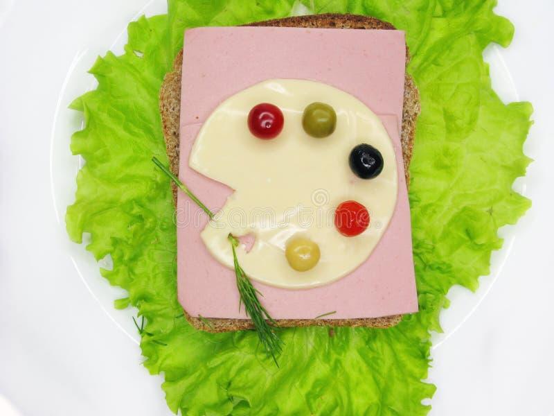 Creatieve plantaardige sandwich met kaas en ham royalty-vrije stock foto