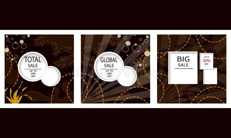 Creatieve reeks Verkoopkopballen of banners met kortingsaanbieding Kunst donkere en gouden affiches Ontwerp voor seizoengebonden  stock illustratie