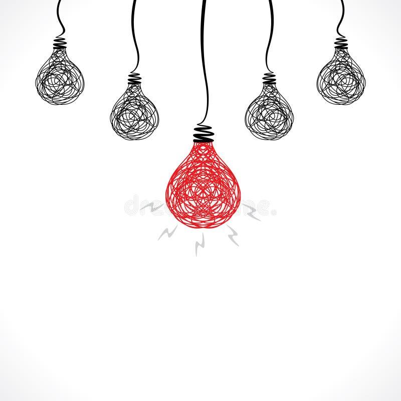 Creatieve rode bol met nieuwe idee of bolachtergrond royalty-vrije illustratie