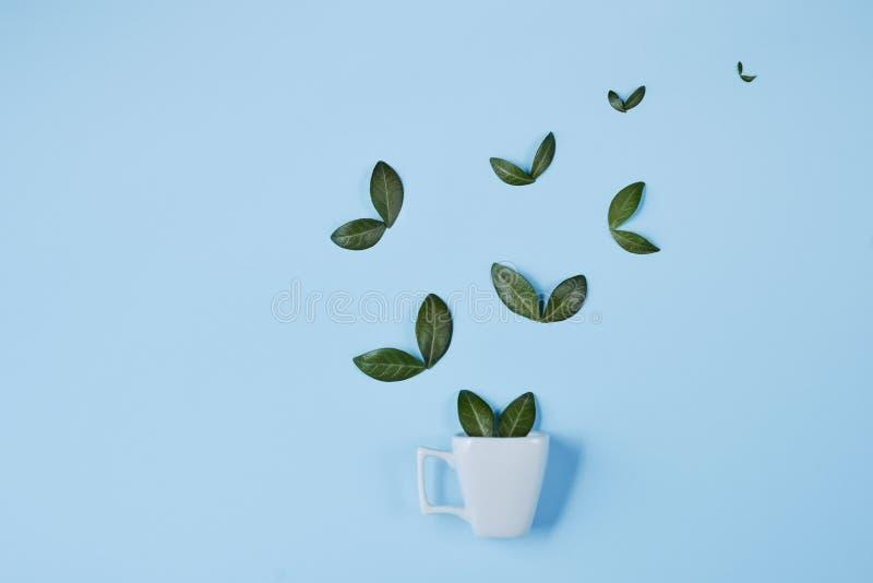Creatieve samenstelling Koffiekop met vogels van natuurlijke groene bladeren op blauwe achtergrond worden gemaakt die royalty-vrije stock fotografie