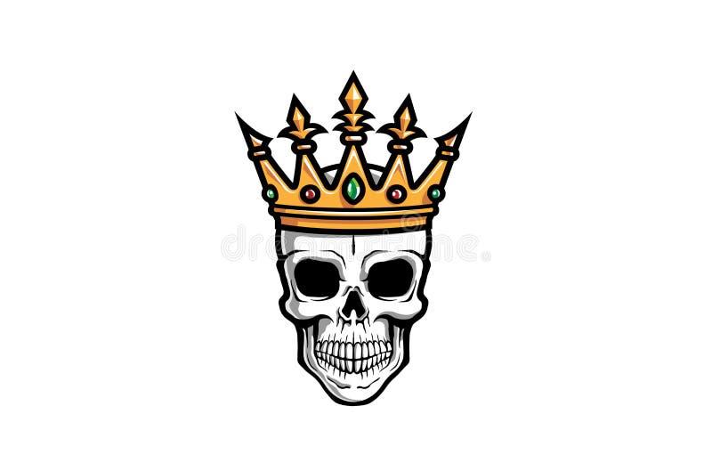 Creatieve Schedelkroon Logo Design Illustration royalty-vrije stock fotografie