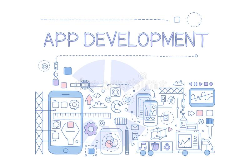 Creatieve schets infographic van mobiele toepassingontwikkeling Proces om te cre?ren Lijnkunst met kleurrijke vulling Vector ontw royalty-vrije illustratie