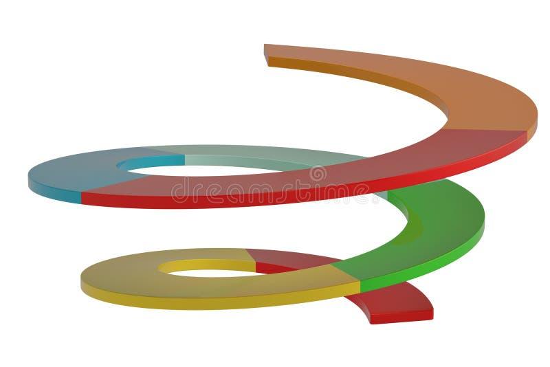 Creatieve spiraalvormige grafisch geïsoleerd op witte 3D illustratie als achtergrond vector illustratie