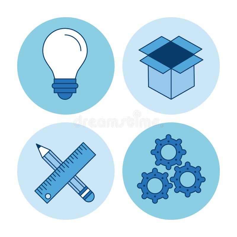 Creatieve symboolpictogrammen stock illustratie