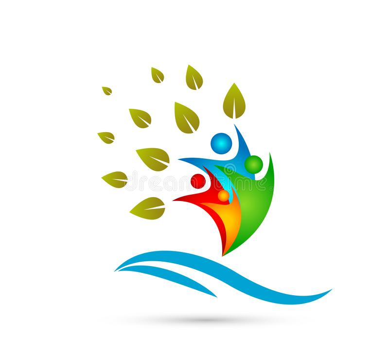 Creatieve Team People Family-boom met embleem van het de mensen samen concept van de watergolf het gelukkige royalty-vrije illustratie